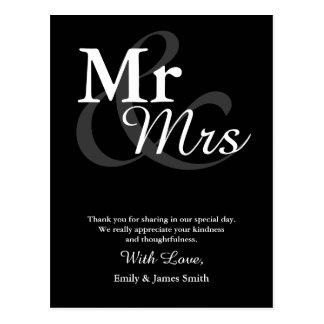 Cartão Postal Obrigado elegante simples do casamento da