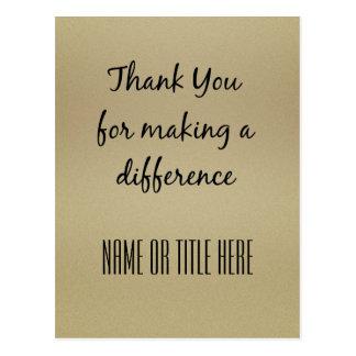 Cartão Postal Obrigado fazendo uma diferença