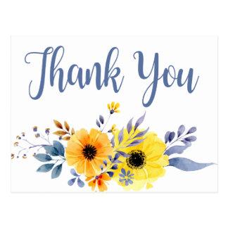 Cartão Postal Obrigado floral azul você amarela a aguarela das