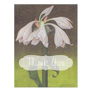 Cartão Postal Obrigado floral branco você
