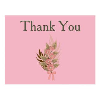 Cartão Postal Obrigado floral cor-de-rosa e verde
