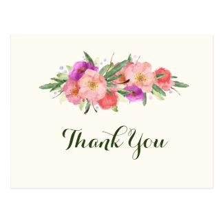 Cartão Postal Obrigado floral da aguarela elegante você