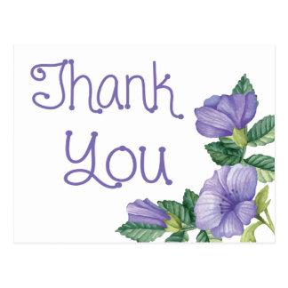 Cartão Postal Obrigado floral da aguarela você flor roxa