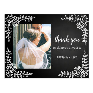 Cartão Postal Obrigado floral do casamento do quadro você foto