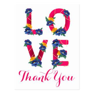 Cartão Postal Obrigado floral do rosa do amor flores azuis &