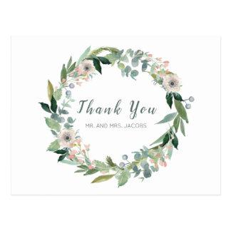 Cartão Postal Obrigado floral elegante do casamento da grinalda