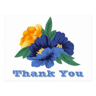 Cartão Postal Obrigado floral você flores amarelas azuis da