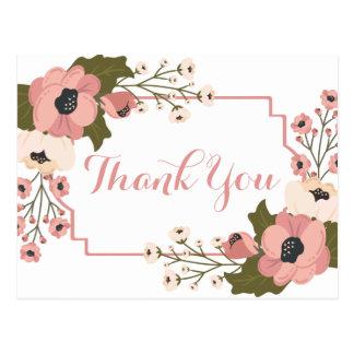Cartão Postal Obrigado floral você pica flores da aguarela que