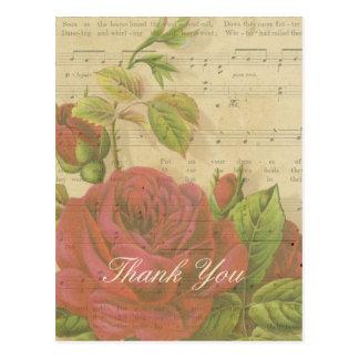 Cartão Postal Obrigado folha de música floral das rosas