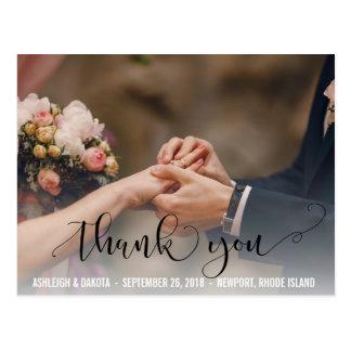 Cartão Postal Obrigado foto preta elegante do casamento da