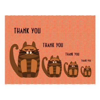 Cartão Postal obrigado gordo grande do rufus do gato você