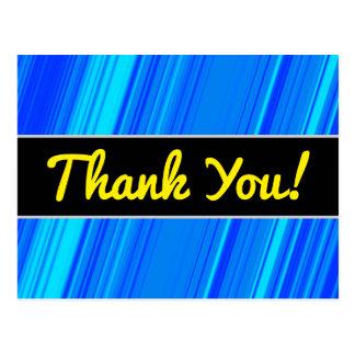 """Cartão Postal """"Obrigado!"""" + Linhas azuis e cianas teste padrão"""