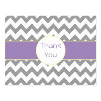 Cartão Postal Obrigado listrado Chevron cinzento e roxo você