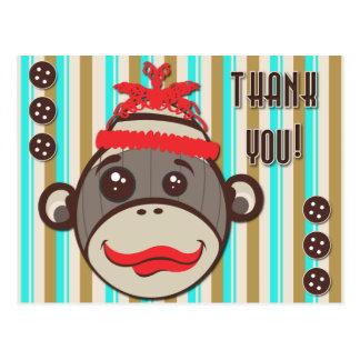 Cartão Postal Obrigado louco do macaco da peúga do chapéu você