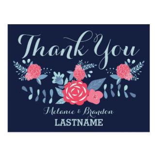 Cartão Postal Obrigado marinho e rosa do casamento de Boho dos
