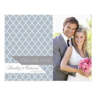 Cartão Postal Obrigado marroquino azul do casamento do teste