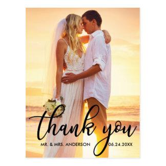 Cartão Postal Obrigado moderno do casamento você foto B do noivo