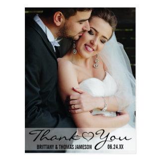 Cartão Postal Obrigado moderno você foto do casamento do coração