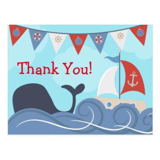 Cartão Postal Obrigado náutico da baleia do oceano da praia do