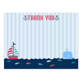 Cartão Postal Obrigado náutico/do marinheiro tema do vazio você