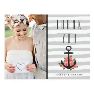 Cartão Postal Obrigado náutico romântico cinzento do casamento