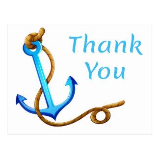 Cartão Postal Obrigado náutico você envia a turquesa do azul da