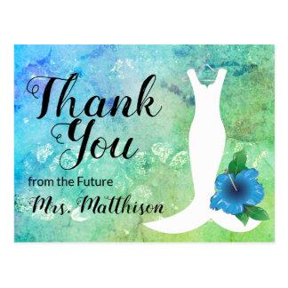 Cartão Postal Obrigado nupcial temático da praia do vestido de