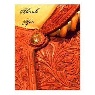 Cartão Postal Obrigado ocidental do país da sela você