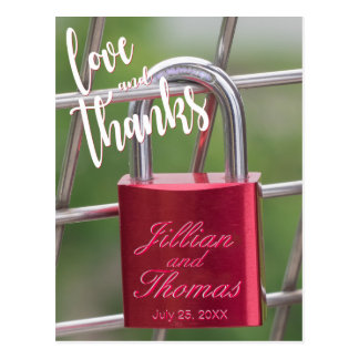Cartão Postal Obrigado Overlay a cerca vermelha do cadeado