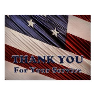 Cartão Postal Obrigado patriótico da bandeira dos veteranos