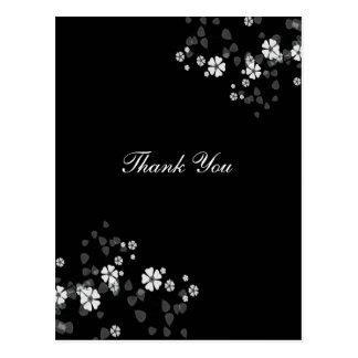 Cartão Postal Obrigado postcar, flores brancas