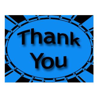 Cartão Postal Obrigado preto azul brilhante de turquesa