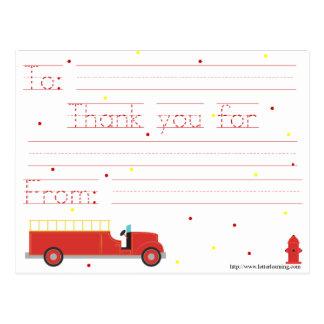 Cartão Postal Obrigado que do Firetruck você nota (com mensagem