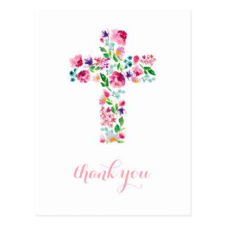 Cartão Postal Obrigado que transversal floral você nota,