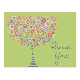 Cartão Postal Obrigado retro da árvore do círculo do limão você