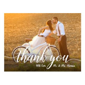 Cartão Postal Obrigado romântico da foto do casamento você
