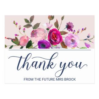 Cartão Postal Obrigado romântico do jardim você