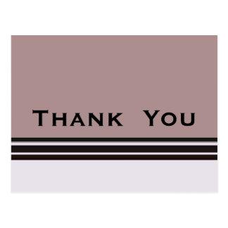 Cartão Postal Obrigado roxo com listras pretas
