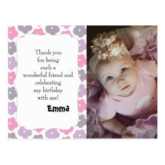 Cartão Postal Obrigado roxo cor-de-rosa do aniversário das