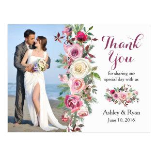 Cartão Postal Obrigado roxo do casamento da foto do rosa do rosa