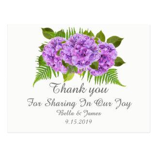 Cartão Postal Obrigado roxo moderno do casamento do Hydrangea