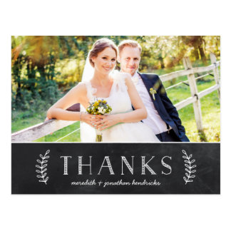 Cartão Postal Obrigado rústico da foto do quadro você