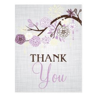 Cartão Postal Obrigado rústico das flores do Lilac e do creme