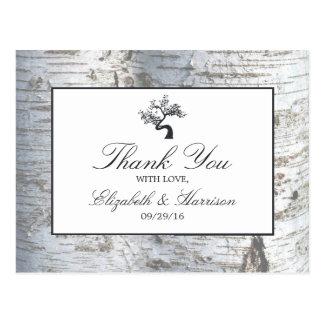 Cartão Postal Obrigado rústico do casamento da árvore de