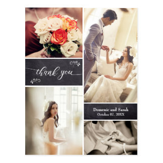 Cartão Postal Obrigado rústico riscado do casamento da colagem