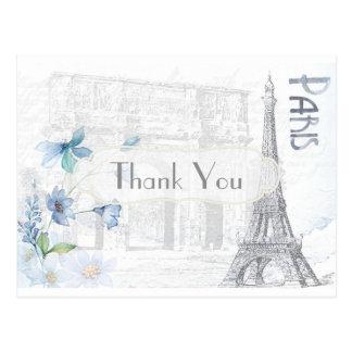 Cartão Postal Obrigado temático de Paris você
