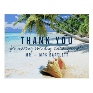 Cartão Postal Obrigado tropical do casamento do destino da praia