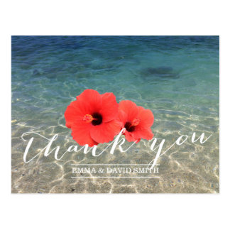 Cartão Postal Obrigado tropical do hibiscus & da praia você