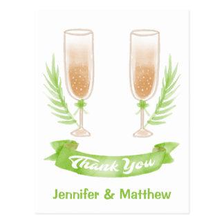 Cartão Postal Obrigado verde da aguarela você vidros de vinho
