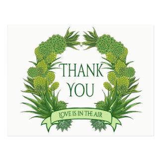 Cartão Postal Obrigado verde você casamento do sudoeste do cacto